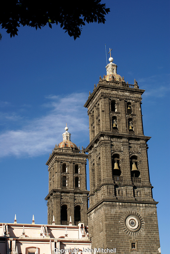 Bell towers of the cathedral in the city of Puebla, Mexico. The historical center of Puebla is a UNESCO World Heritage Site.