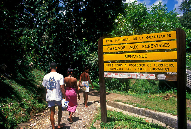 Welcome sign Crayfish Waterfall La Cascade aux Ecrevisses Guadeloupe National Park Basse Terre Guadeloupe French West Indies