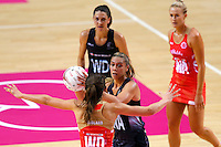 10.02.2017 Silver Ferns Grace Rasmussen in action during the Silver Ferns v England Roses Vitality Netball International Series test match played at the Echo Arena in Liverpool. Mandatory Photo Credit © Paul Greenwood/Michael Bradley Photography.