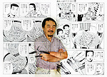"Tetsu Kariya, writer of the best-selling manga series ""Oishinbo"", is superimposed on pages of one of his manga titled ""The Taste of Japan."".Photographer: Robert Gilhooly"