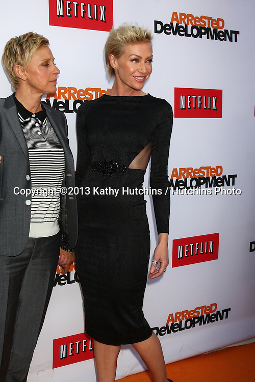 """LOS ANGELES - APR 29:  Ellen DeGeneres, Portia DeRossi arrives at the """"Arrested Development"""" Los Angeles Premiere at the Chinese Theater on April 29, 2013 in Los Angeles, CA"""