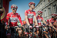 Jelle Vanendert (BEL/Lotto-Belisol) & Pim Ligthart (NLD/Lotto-Belisol) at the start<br /> <br /> Amstel Gold Race 2014