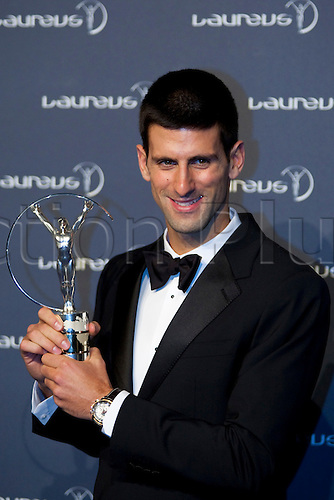 06.02.2012 London, England. Novak Djokavic with the trophy for the Laureus men's sportsman of the year award, at the Laureus Sports Awards in The Queen Elizabeth Conference Centre London