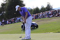 Matthew Fitzpatrick (ENG) putts on the playoff green 18 during Sunday's Final Round 4 of the 2018 Omega European Masters, held at the Golf Club Crans-Sur-Sierre, Crans Montana, Switzerland. 9th September 2018.<br /> Picture: Eoin Clarke | Golffile<br /> <br /> <br /> All photos usage must carry mandatory copyright credit (© Golffile | Eoin Clarke)