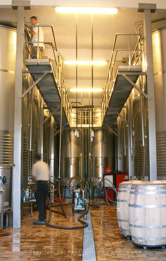 Fermentation tanks. Clos de l'Obac, Costers del Siurana, Gratallops, Priorato, Catalonia, Spain.