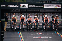 Team Boels-Dolmans off the start ramp<br /> <br /> UCI WOMEN'S TEAM TIME TRIAL<br /> Ötztal to Innsbruck: 54.5 km<br /> <br /> UCI 2018 Road World Championships<br /> Innsbruck - Tirol / Austria