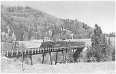 #478 with eastbound San Juan on Lobato trestle.<br /> D&amp;RGW  Lobato, NM  Taken by Richardson, Robert W. - 9/9/1946