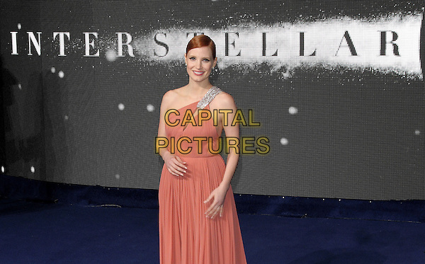 LONDON, ENGLAND - OCTOBER 29: Jessica Chastain attends the &quot;Interstellar&quot; European film premiere, Odeon Leicester Square, on Wednesday October 29, 2014 in London, England, UK. <br /> CAP/ROS<br /> &copy;Steve Ross/Capital Pictures