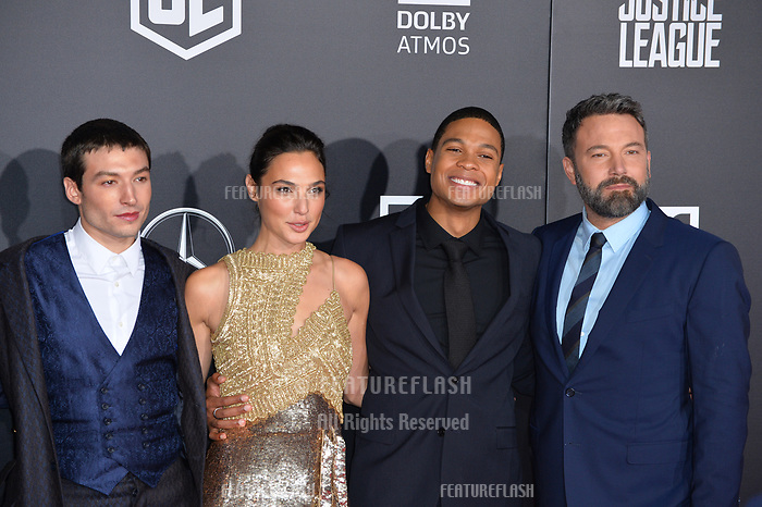 Ezra Miller, Gal Gadot, Ray Fisher, Ben Affleck at the world premiere for &quot;Justice League&quot; at The Dolby Theatre, Hollywood. Los Angeles, USA 13 November  2017<br /> Picture: Paul Smith/Featureflash/SilverHub 0208 004 5359 sales@silverhubmedia.com