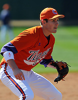 Clemson third baseman John Hinson prior to a game between the Clemson Tigers and Mercer Bears on Feb. 23, 2008, at Doug Kingsmore Stadium in Clemson, S.C. Photo by: Tom Priddy/Four Seam Images