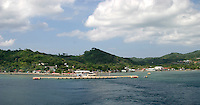 Coxen Hole is where cruise ships dock on the Island of Roatan in the bay islands of Honduras
