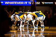 Morgantown, WV - NOV 18, 2017: West Virginia Mountaineers huddle up before game between West Virginia and Morgan State at WVU Coliseum Morgantown, West Virginia. (Photo by Phil Peters/Media Images International)