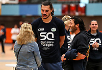 Steven Adams chats with Willy Apiata (VC).<br /> Steven Adams Basketball Camp, Bruce Pullman Arena, Auckland. Monday 28 August 2017. Photo: Simon Watts/www.bwmedia.co.nz