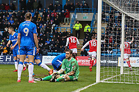 Goalkeeper Tomas Holy of Gillingham looks dejected as Fleetwood Town players celebrate scoring the opening goal during the Sky Bet League 1 match between Gillingham and Fleetwood Town at the MEMS Priestfield Stadium, Gillingham, England on 27 January 2018. Photo by David Horn.