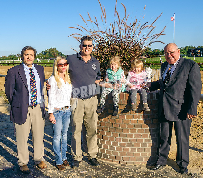 2016 Leading trainer Jamie Ness and Leading  Owner, Jagger, Inc. with family at Delaware Park on 10/15/16