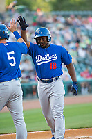 Tulsa Drillers vs NWA Naturals Baseball –:Quincy Latimore of the Drillers puts the Drillers on the board with the first homerun of the night against the Naturals at Arvest Ballpark, Springdale, AR, Wednesday, July 12, 2017,  © 2017 David Beach