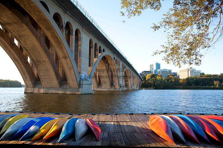 The view of the Key Bridge from Jack's Boat House on the Potomac River where kayak rentals are available during the summer season.