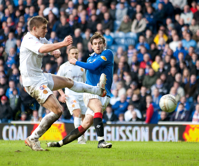 Nikica Jelavic scores his hat-trick goal and no 5 of the match for Rangers