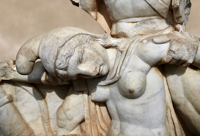 Close up of Roman Sebasteion relief  sculpture of Nero conquering Armenia depicting a fallen female representing Armenia,  Aphrodisias Museum, Aphrodisias, Turkey.   Against an art background.<br /> <br /> Nero, wearing only a cloak and sword strap, supports a slumped naked Armenia by her upper arms. She wears a soft eastern hat, and her bow and quiver are next to her. The heroic composition likens them to Achilles and the Amazon Queen Penthesilea. The inscription reads: Armenia - (Neron) Klaudios Drousos Kaisar Sebastos Germanikos.