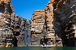 Taking a zodiac tour of the King George River and the famed waterfalls that were dried up due to the lack of rain during the wet season