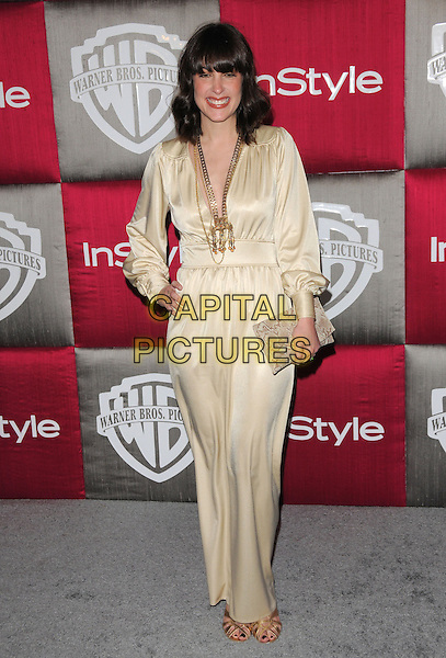 LINDSAY SLOANE .The 10th Annual Instyle & WB Golden Globes After Party held at Oasis Court in The Beverly Hilton Hotel in Beverly Hills, California, USA..January 11th, 2009                                                                                                                                 full length beige gold dress silk satin hand on hip necklaces clutch bag .CAP/DVS.©Debbie VanStory/Capital Pictures.