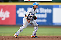Akron RubberDucks shortstop Francisco Lindor (12) in the field during a game against the Erie SeaWolves on May 17, 2014 at Jerry Uht Park in Erie, Pennsylvania.  Erie defeated Akron 2-1.  (Mike Janes/Four Seam Images)