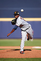 Surprise Saguaros pitcher Randy Rosario (56), of the Minnesota Twins organization, during a game against the Peoria Javelinas on October 12, 2016 at Peoria Stadium in Peoria, Arizona.  The game ended in a 7-7 tie after eleven innings.  (Mike Janes/Four Seam Images)