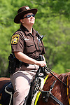 A female mounted Wisconsin sheriff on a horse