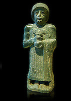 "Diorite statue of Guidea who ruled Lagash from around 2150 BC. The statue called the ""gushing vase"" dedicated to the goddess Geshtinanna. From the ancient Sumarian city of Lagash."