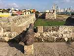 Colombia, Cartagena de Indias -- July 21, 2017 -- Centro histórico - colonial walled centre, with Bocagrande in the back -- architecture, tourism -- Photo © HorstWagner.eu