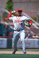 Richmond Flying Squirrels third baseman Mitch Delfino (10) throws to first during a game against the Erie Seawolves on May 20, 2015 at Jerry Uht Park in Erie, Pennsylvania.  Erie defeated Richmond 5-2.  (Mike Janes/Four Seam Images)
