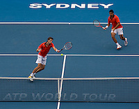 Daniel Nester (CAN) and Nenad Zimonjic (SRB) against Ross Hutchins (GBR) and Jordan Kerr (AUS) in the  Final of the Mens Doubles. Nestor & Zimonjic beat  Hutchins & Kerr  6-3 7-6(5)..International Tennis - Medibank International Sydney - Sat 16 Jan 2010 - Sydney Olympic Park  Tennis Centre- Sydney - Australia ..© Frey - AMN Images, 1st Floor, Barry House, 20-22 Worple Road, London, SW19 4DH.Tel - +44 20 8947 0100.mfrey@advantagemedianet.com