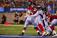 Canton, Ohio - August 1, 2019: An attempted pass by Atlanta Falcons quarterback Kurt Benkert #6 is ruled incomplete during a pre-season game against the Denver Broncos at the Tom Benson Hall of Fame stadium in Canton, Ohio August 1, 2019. This game marks start of the 100th season of the NFL. (Photo by Don Baxter/Media Images International)