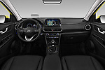 Stock photo of straight dashboard view of a 2018 Hyundai Kona Luxury Launch 5 Door SUV