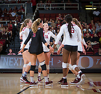 STANFORD, CA - November 4, 2018: Meghan McClure, Morgan Hentz, Kate Formico, Tami Alade, Jenna Gray at Maples Pavilion. No. 2 Stanford Cardinal defeated the Utah Utes 3-0.
