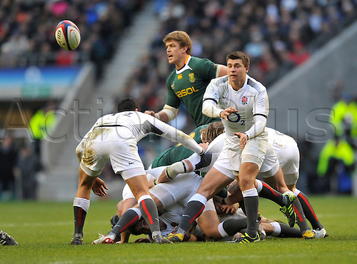 27.11.2010. Ben Youngs of England  clears the ball. International Rugby England vs South Africa at Twickenham Stadium, England.