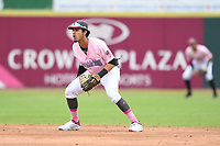 Hickory Crawdads shortstop Jonathan Ornelas (3) awaits a batter during the game with the Charleston Riverdogs at L.P. Frans Stadium on May 12, 2019 in Hickory, North Carolina.  The Riverdogs defeated the Crawdads 13-5. (Tracy Proffitt/Four Seam Images)