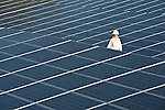 A female tech performs a walking inspection through The Desert Water Agency fixed panel solar array installed by Shell Solar in Palm Springs, CA.     THE NUMBERS:          2,028 Number of solar modules in the plant..335 Kilowatt power of the plant..662,000 Kilowatt hours produced annually..$2.4 million Cost of plant..$1.2 million Rebate from Southern California Edison through incentive program..639,000 Pounds of carbon dioxide emissions projected to be avoided annually