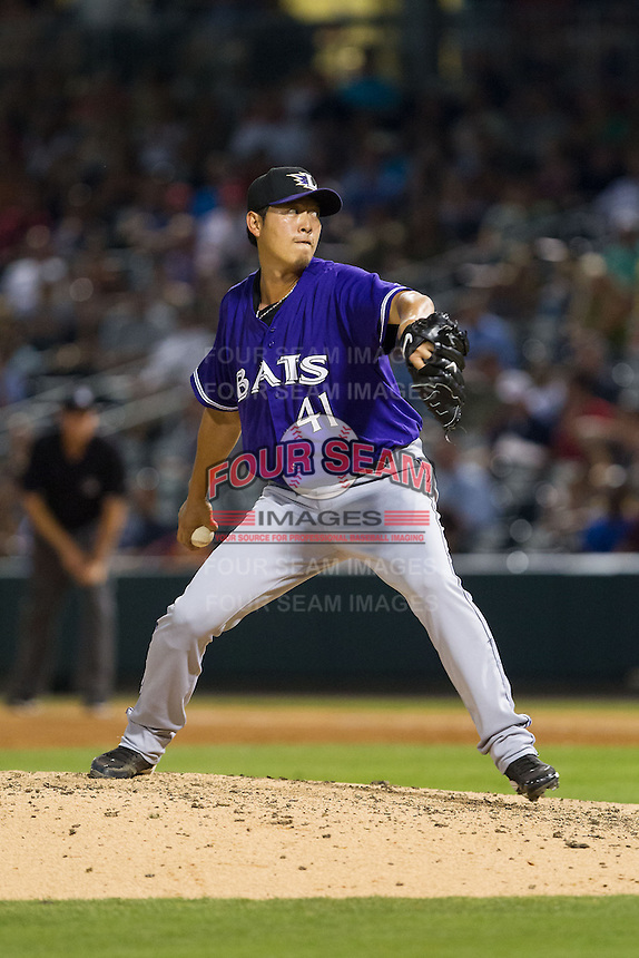Louisville Bats starting pitcher Chien-Ming Wang (41) in action against the Charlotte Knights at BB&T Ballpark on June 26, 2014 in Charlotte, North Carolina.  The Bats defeated the Knights 6-4.  (Brian Westerholt/Four Seam Images)