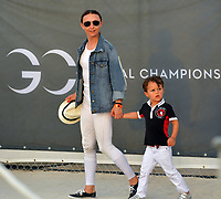 MIAMI BEACH, FL - APRIL 07: (EXCLUSIVE COVERAGE) Billionaire and former Mayor of New York Michael Bloomberg is seen leaving horse jumping with daughters Emma Bloomberg, Georgina Bloomberg along with her son Jasper Michael Brown Quintana and her boyfriend Carlos Arruza Jr at the Longines Global Champions Tour stop day 3 in Miami Beach on April 7, 2018 in Miami Beach, Florida.<br /> People:  Georgina Bloomberg, Jasper Quintana <br /> CAP/MPI122<br /> &copy;MPI122/Capital Pictures
