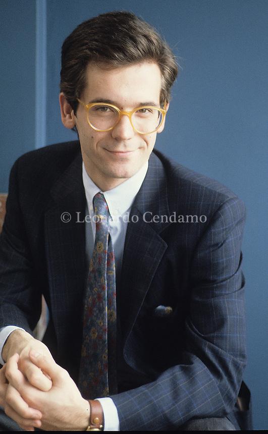 Milan, Italy, 1985. Alessandro Cecchi Paone, Italian tv presenter, journalist and writer. Professor of History and documentary technique at the Bicocca University, Milan.  Leonardo Cendamo