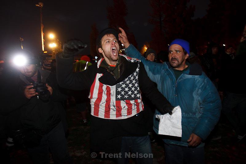Trent Nelson  |  The Salt Lake Tribune.Salt Lake City police cleared the Occupy Salt Lake tent city from Pioneer Park in Salt Lake City, Utah, Saturday, November 12, 2011. Drew Baker