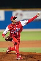 24 September 2009: Maikel Folch of Cuba pitches against Team USA during the 2009 Baseball World Cup final round match won 5-3 by Team USA over Cuba, in Nettuno, Italy.