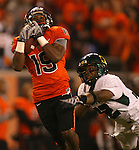 Beavers wide receiver , 19 Sammie Stroughter, makes a long catch that led to a touchdown during the Civil War at Reser Stadium in Corvallis, November 29, 2008.