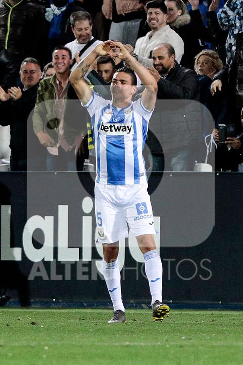 CD Leganes's Jonathan Cristian Silva celebrates goal during La Liga match between CD Leganes and Real Madrid at Butarque Stadium in Leganes, Spain.April 15, 2019. (ALTERPHOTOS/A. Perez Meca)