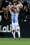 CD Leganes's Jonathan Cristian Silva celebrates goal during La Liga match between CD Leganes and Real Madrid at Butarque Stadium in Leganes, Spain.April 15, 2019. (ALTERPHOTOS/A. Perez Meca)