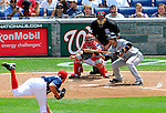 4 July 2009: Atlanta Braves' first baseman Martin Prado squares to bunt against the Washington Nationals at Nationals Park in Washington, DC. The Nationals defeated the Braves 5-3 to take the second game of the 3-game weekend series. Mandatory Credit: Ed Wolfstein Photo