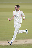 James Anderson of Lancashire CCC celebrates the wicket of Nick Gubbins during Middlesex CCC vs Lancashire CCC, Specsavers County Championship Division 2 Cricket at Lord's Cricket Ground on 13th April 2019