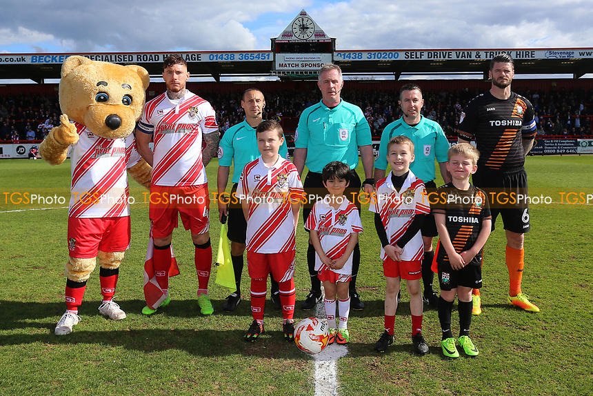 Captain, officials and mascots line up during Stevenage vs Barnet, Sky Bet EFL League 2 Football at the Lamex Stadium on 1st April 2017