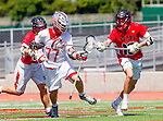 Palos Verdes, CA 03/26/16 - Colin Fitt (Palos Verdes #77) and Ryan Crawford (San Clemente #18) in action during the CIF Boys Lacrosse game between San Clemente Tritons and the Palos Verdes Seakings at Palos Verdes High School.  Palos Verdes defeated San Clemente 11-6